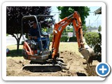 Digging trenches for sewer lines